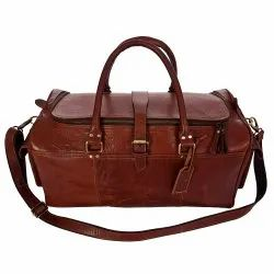 GUGALINDIA Tan Genuine Leather Duffel Bag Both Side Pocket, Pure Leather: Yes