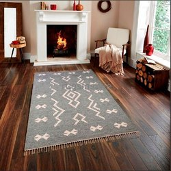 Rugs In Style Woven Flat Weave Hand Made Cotton Durrie, Packaging Type: Export Packaging