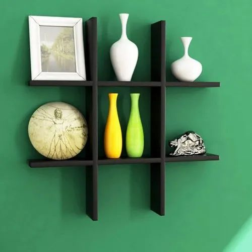 Square Wooden Black Plus Shaped Shelves For Living Room Size 15 X 15 Inch Rs 400 Set Id 21936801855