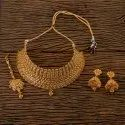 Golden Antique Gold Plated Choker Necklace 202234, Occasion: Wedding, Engagement, Size: Regular Size And Adjustable