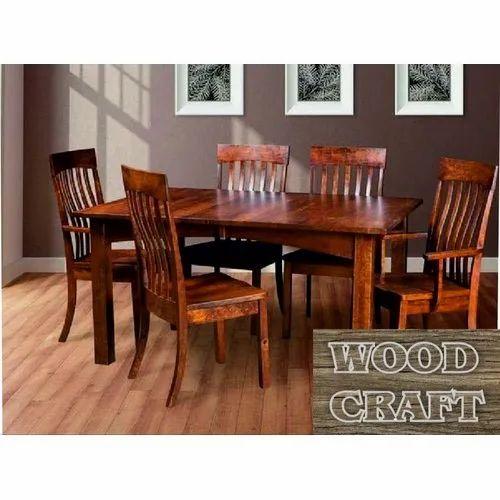 Wood Craft Designer Wooden Dining Table, Wood Craft Furniture