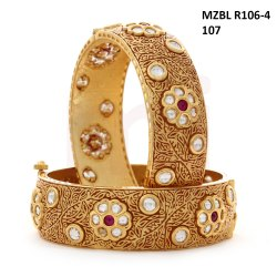 Miracle Jewels Gold MZBL-R106-4-107 Golden Bangle, Packaging Type: Box
