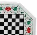 White Marble Dining Table Top Mosaic Stone Art