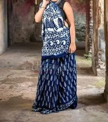Indigo Hand Block Printed Cotton Saree With Blouse