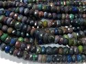 16 Black Ethiopian Opal Faceted Rondelle Gemstone Bead Strands