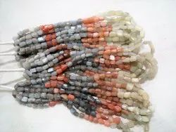 Multi Moonstone Faceted Tumble Nugget Stone Bead Strands
