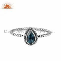 London Blue Topaz Gemstone 925 Silver Oxidized Rings