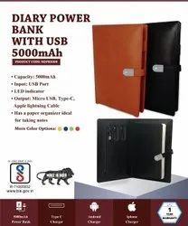 Diary with Power Bank and Pen Drive