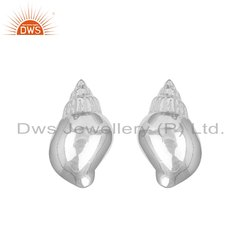 Conch Design 925 Sterling Fine Silver Stud Earrings