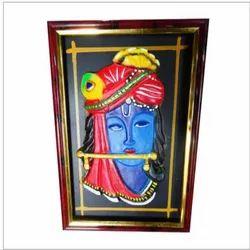 Terracotta Rectangular Krishna Wall Frame, For Decoration