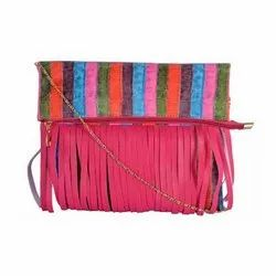 Azzra Pink Fringed Design Golden Chain Sling Bag