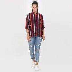 Casual Wear Regular Short Kurti Striped