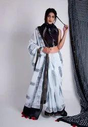 Cotton/Linen Block Print Saree, 5.2 m (separate blouse piece)