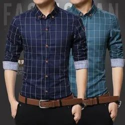 Cotton Fabric Long Sleeve Mens Shirt