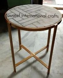 Brass Inlay Side Table