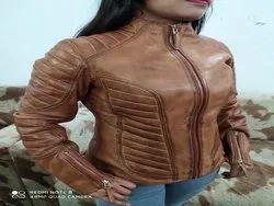 Full Sleeve Casual Jackets Ladies Leather Biker Jacket