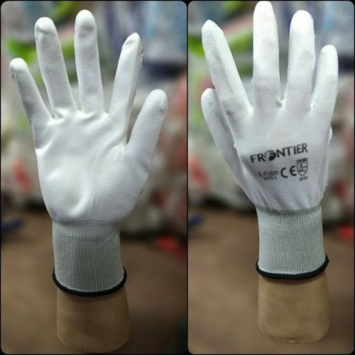 Unisex White Frontier Nylon with PU Coating Gloves for Safety