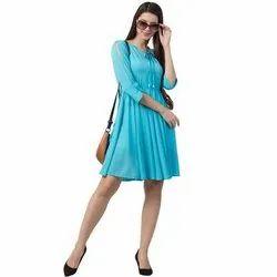 Western Wear Cotton Ladies A Line Designer Dress