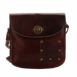Cross Body Brown Full Grain Leather Accordion Bag