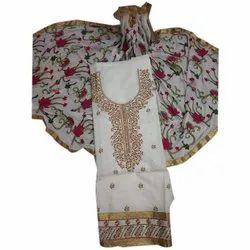 Casual Ladies Off White Chanderi Suit