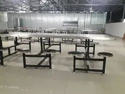Dining Table SS With Attached Stool for Hotel,  Restaurant, Size: 96