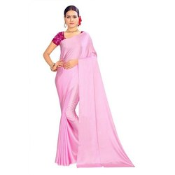 Party Wear Plain Satin Saree, 6.3 m (with blouse piece)
