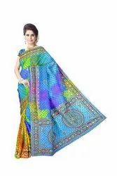 Kala Sanskruti Aabhla And Thread Work Design Gaji Silk Bandhani Saree