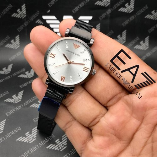 Black Women Armani Girls Normal Quality Watches With COD Facility