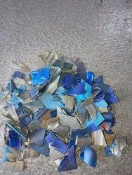 Blue blowing plastic scrap
