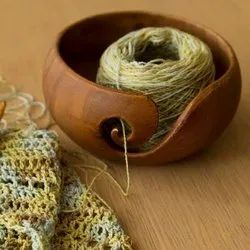 Round Natural Wooden Yarn Bowl