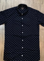 Men Collar Neck Dotted Shirt, Size: M To XXL