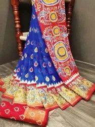 Soft Cotton with 5 Inch Zari Borders Pochamapally Pattu Sarees, 6.3 m (With Blouse Piece)