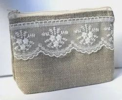 Jute Zippered Pouch Laced