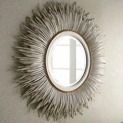 Round White Porcupine Quill Mirror