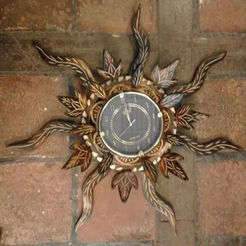 Wooden Sun Wall Clock