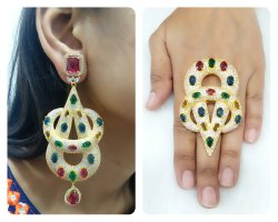 Multi Color Earring and Ring Set