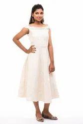 Seemly's Cream Color Digital Printed Knee Length Dress