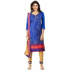 Rajnandini Blue Heavy Glass Cotton Embroidered Unstitched With Zari Work Weaved Dupatta