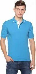 Plain Cotton Samyak Wear Sky Blue Polo Half Sleeve T Shirt