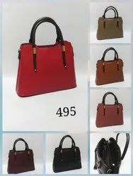 Plain Synthetic Leather Handbag For Women, For Daily Use
