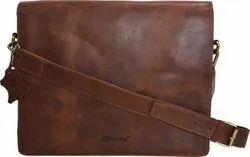 Solid Vintage Brown Leather Messenger Bag