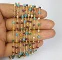 Multi Stone Gold Plated Rosary Beaded Chain
