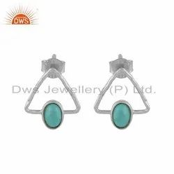 Triangle Sterling Fine Silver Arizona Turquoise Gemstone Earring