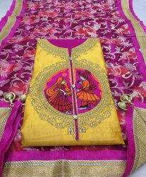Glace Cotton Embroidered Suit Material