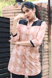 Casual Wear Embroidered Peach Shirt With Embroidery