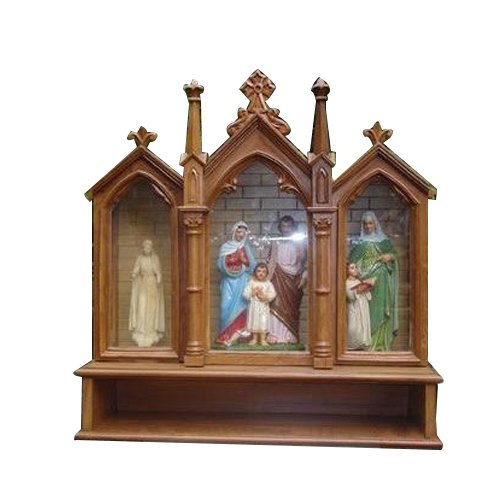 wooden and fiber house altar, lakdi ki hastkala roque \u0026 renoldwooden and fiber house altar