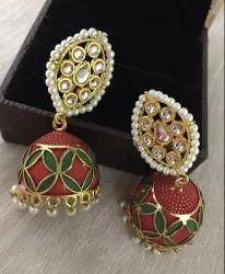 Brass Fancy Kundan Jhumka