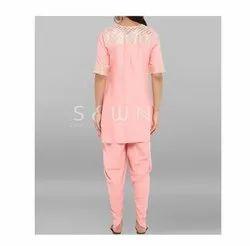 Round Neck Half Sleeves Dhoti Style Kurti, Size: Xs - 10 Xl