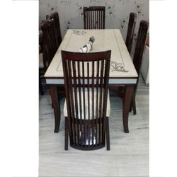 Manhattan Dark Brown And Cream 6 Seater Dinning Table, For Home, Material: Wood