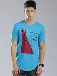 Masculino Latino Casual Cotton Turquoise Blue T-Shirt